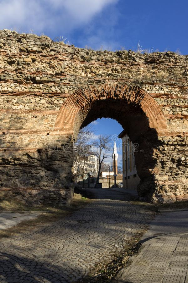 The Western gate of Diocletianopolis Roman city wall, town of Hisarya, Bulgaria. The Western gate of Diocletianopolis Roman city wall, town of Hisarya, Plovdiv stock photo