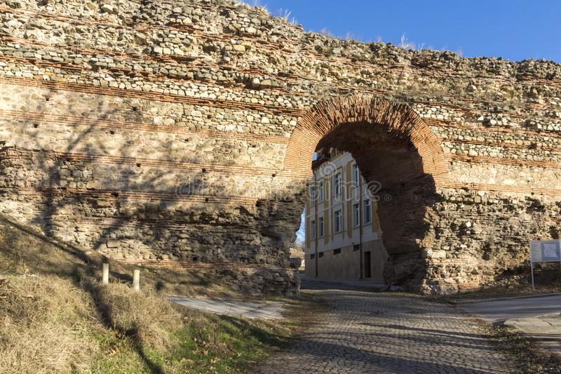 The Western gate of Diocletianopolis Roman city wall, town of Hisarya, Bulgaria. The Western gate of Diocletianopolis Roman city wall, town of Hisarya, Plovdiv stock image