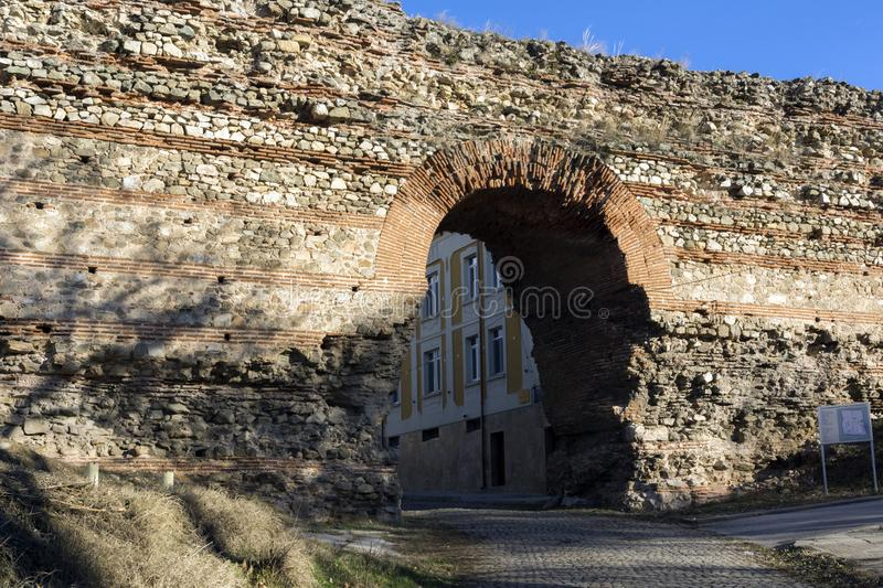 The Western gate of Diocletianopolis Roman city wall, town of Hisarya, Bulgaria. The Western gate of Diocletianopolis Roman city wall, town of Hisarya, Plovdiv royalty free stock photography
