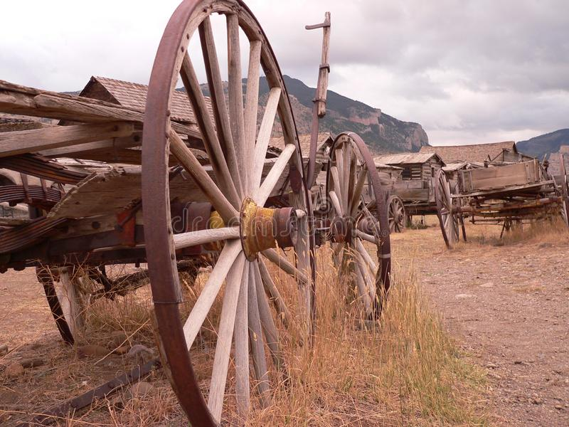 Western Ghost Town Wagon Wheels royalty free stock image