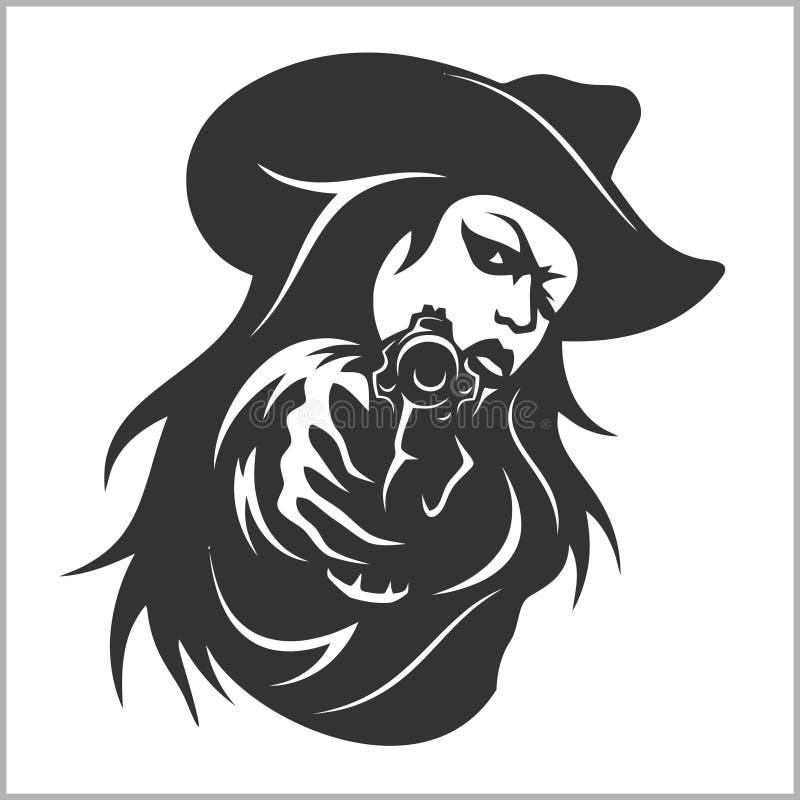 Western girl with revolver. Vector stock illustration stock illustration
