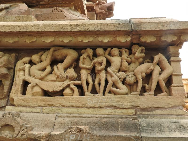The Western group of Khajuraho temples, a UNESCO heritage site, is famous for its erotic sculptures, India, clear day.  royalty free stock photos