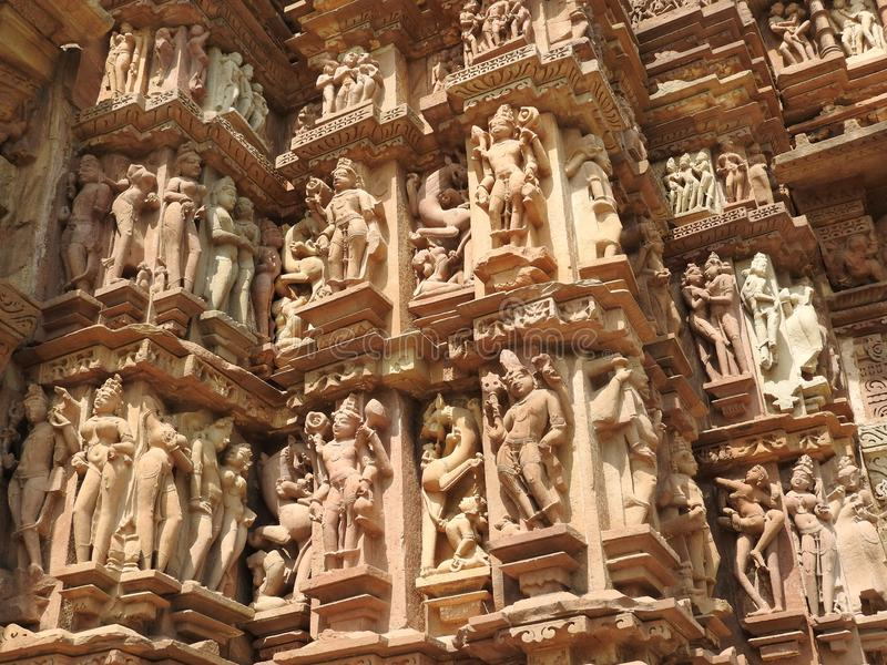 The Western group of Khajuraho temples, a UNESCO heritage site, is famous for its erotic sculptures, India, clear day.  royalty free stock image