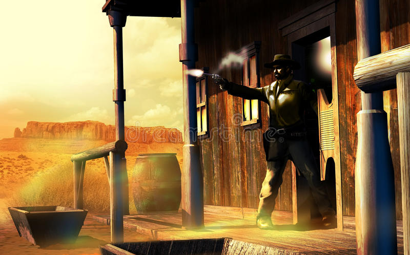 Western gunfight. Man shooting away, from the doors of a saloon in a an old western town close to the desert royalty free illustration