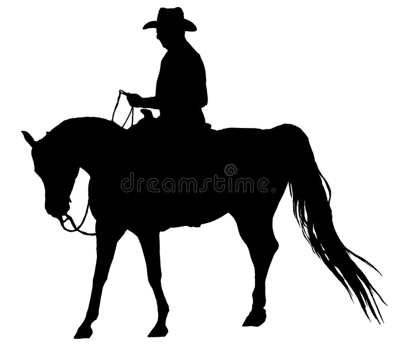 Western Horse And Rider Silhouette Isolated royalty free stock image