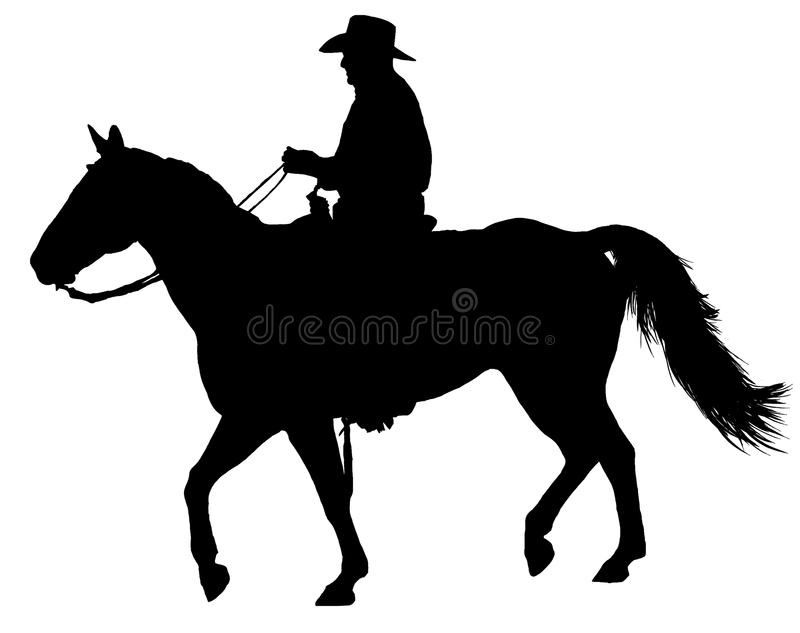 Western Horse And Rider Silhouette Isolated royalty free stock photo