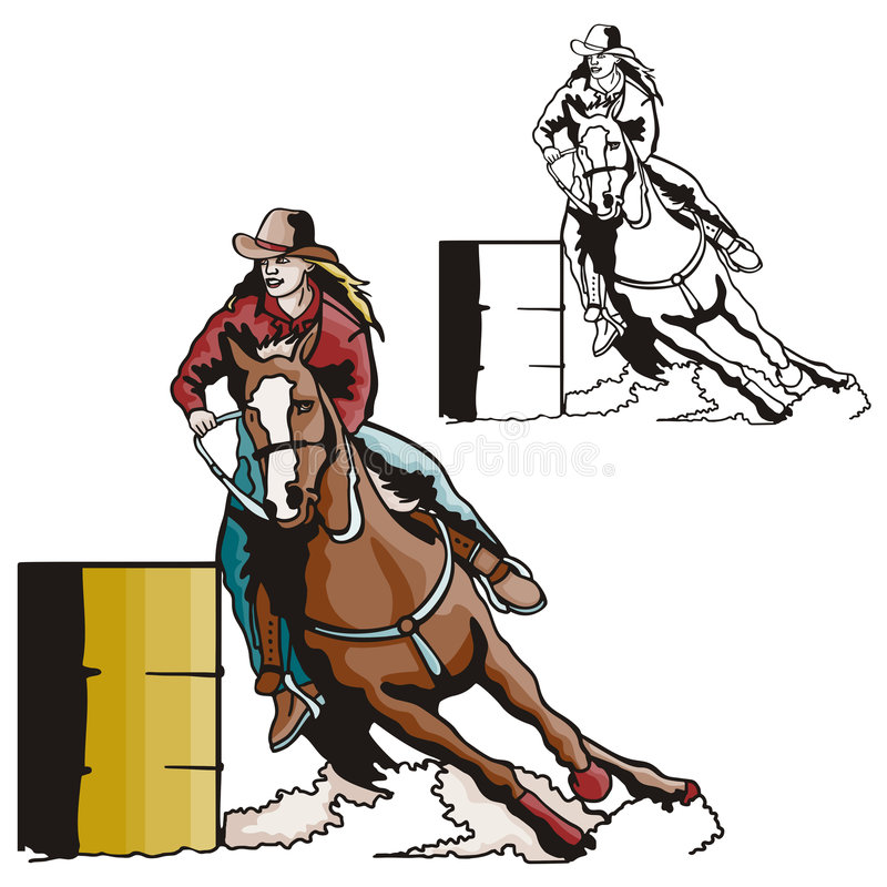 Western illustration series. Vector illustration of a ladies' barrel racing sport. EPS file available royalty free illustration