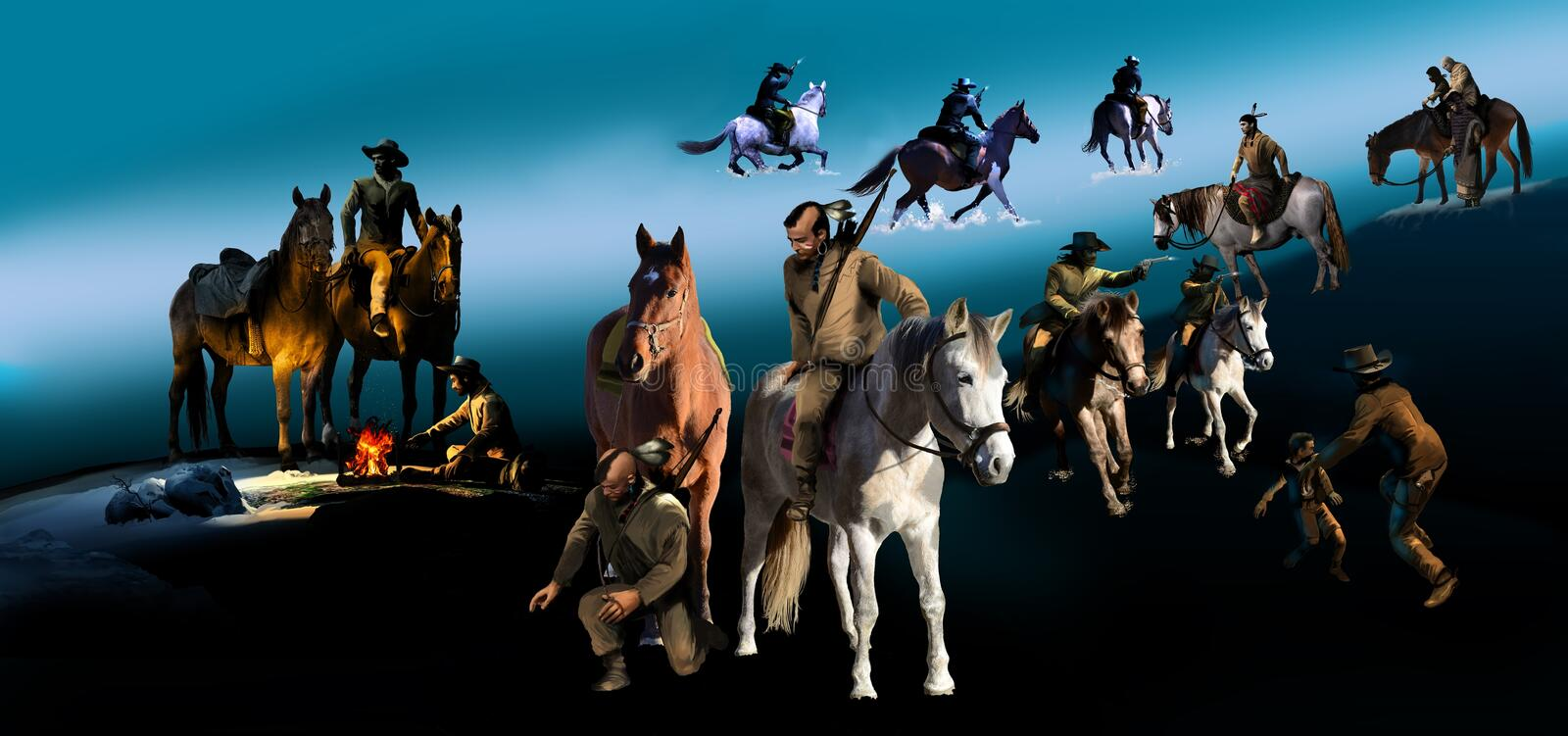 Western imagery. Several images, typical of western characters in different situations and places vector illustration