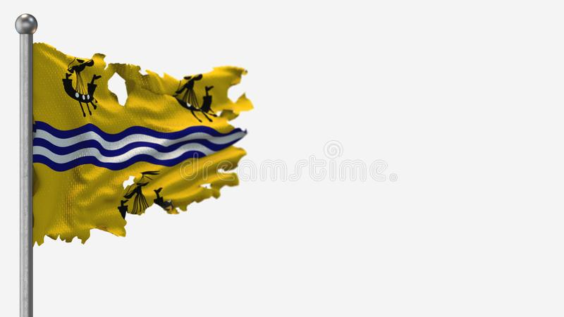 Western Isles Council 3D tattered waving flag illustration on Flagpole. Isolated on white background with space on the right side stock illustration