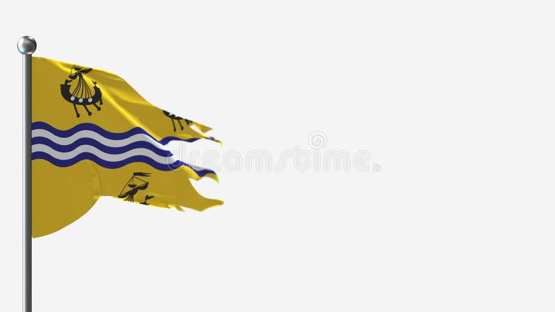 Western Isles Council 3D tattered waving flag illustration on Flagpole. Perfect for background with space on the right side stock illustration