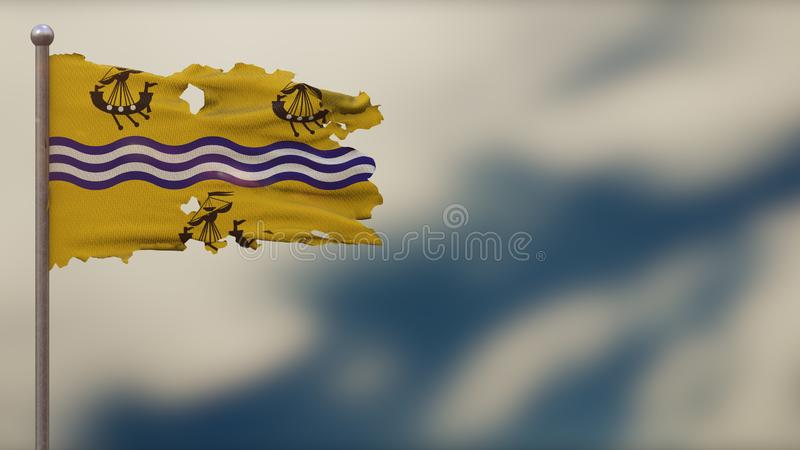 Western Isles Council 3D tattered waving flag illustration on Flagpole. Isolated on blurred sky background with space on the right side. Depth of Field effect stock illustration