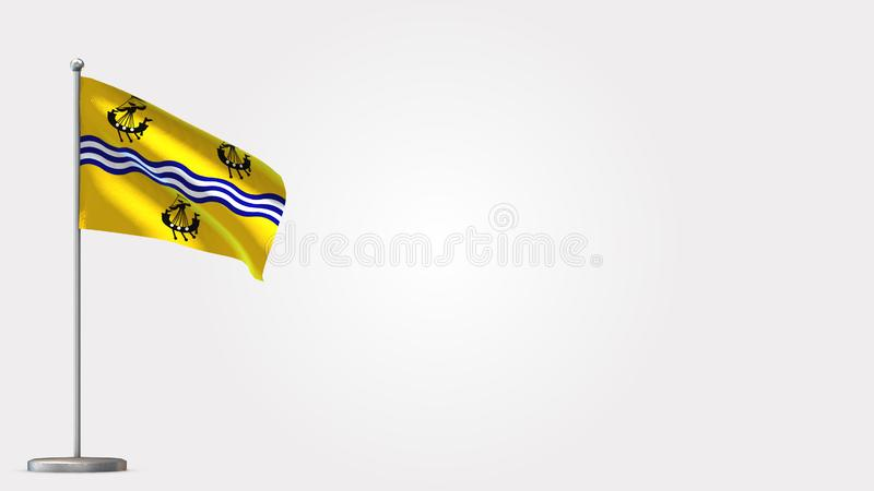 Western Isles Council 3D waving flag illustration on flagpole. Perfect for background with space on the right side vector illustration