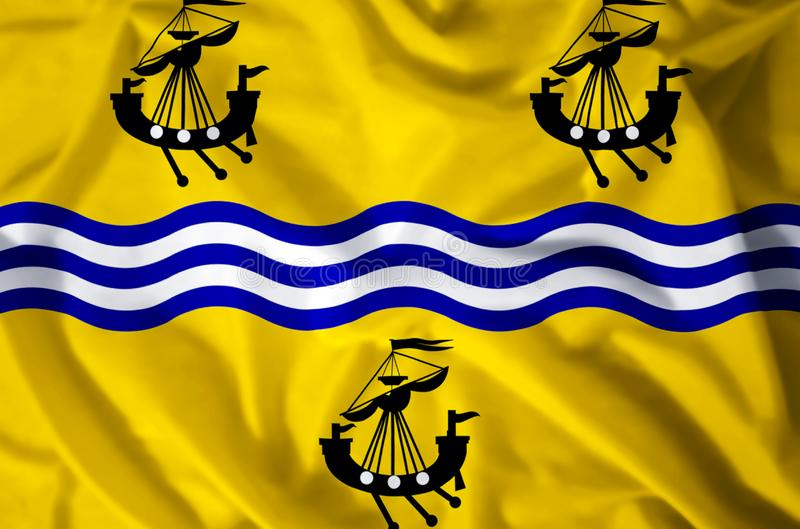 Western Isles Council. Stylish waving and closeup flag illustration. Perfect for background or texture purposes stock illustration