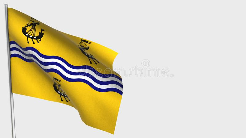 Western Isles Council waving flag illustration on flagpole. Perfect for background with space on the right side stock illustration