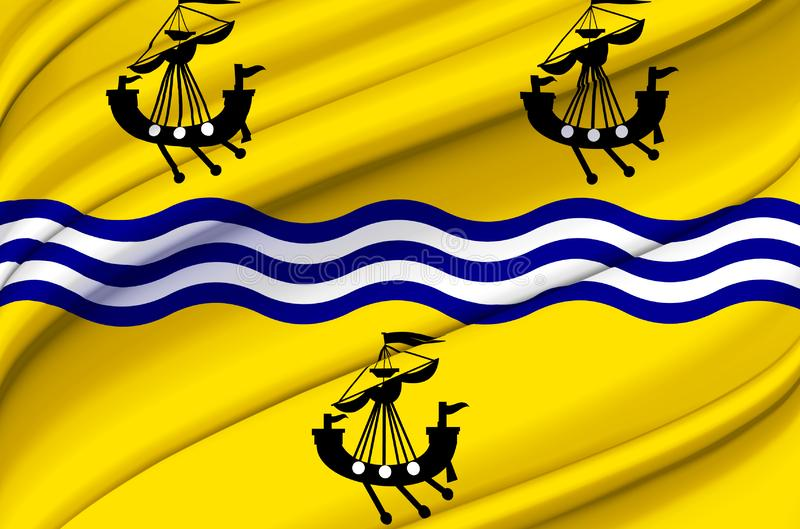 Western Isles Council waving flag illustration. Regions of England and United Kingdom. Perfect for background and texture usage royalty free illustration