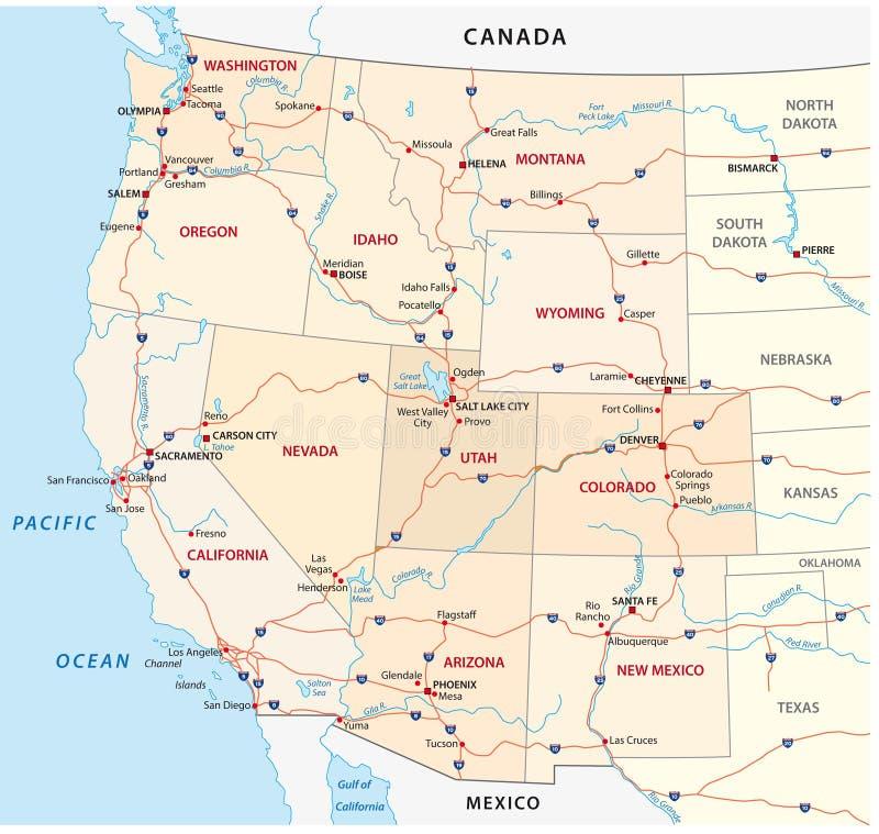 Western jednocząca stan mapa obrazy royalty free