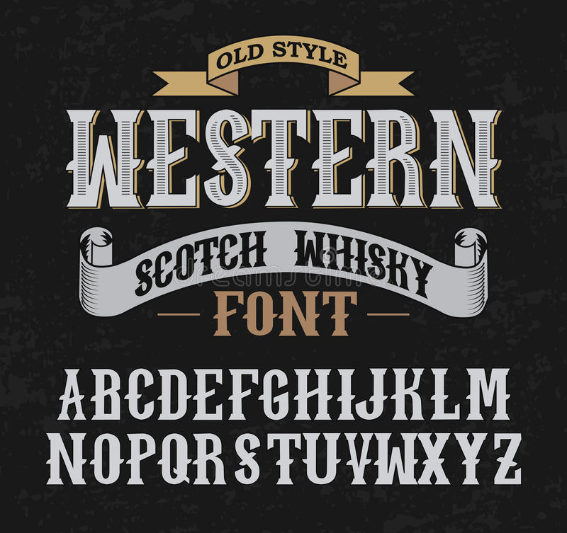 Western label font with decoration design. royalty free stock photography