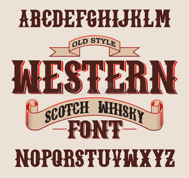 Western label font with decoration design. royalty free stock image