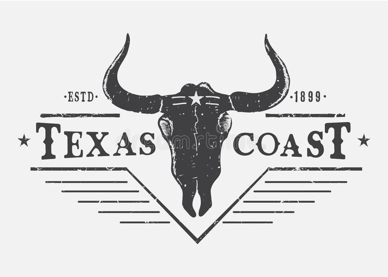 Western logo with bull skull. Typography prints vector design for t-shirt or other wear royalty free illustration