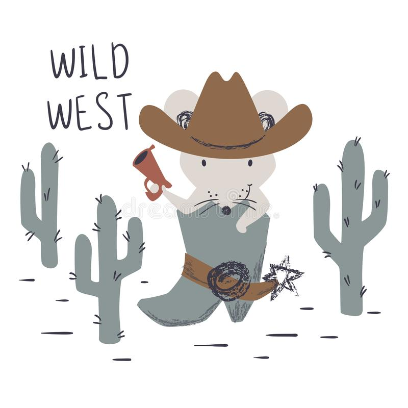 Western mouse baby cute print. Wild west animal with hat, boot, gun. vector illustration
