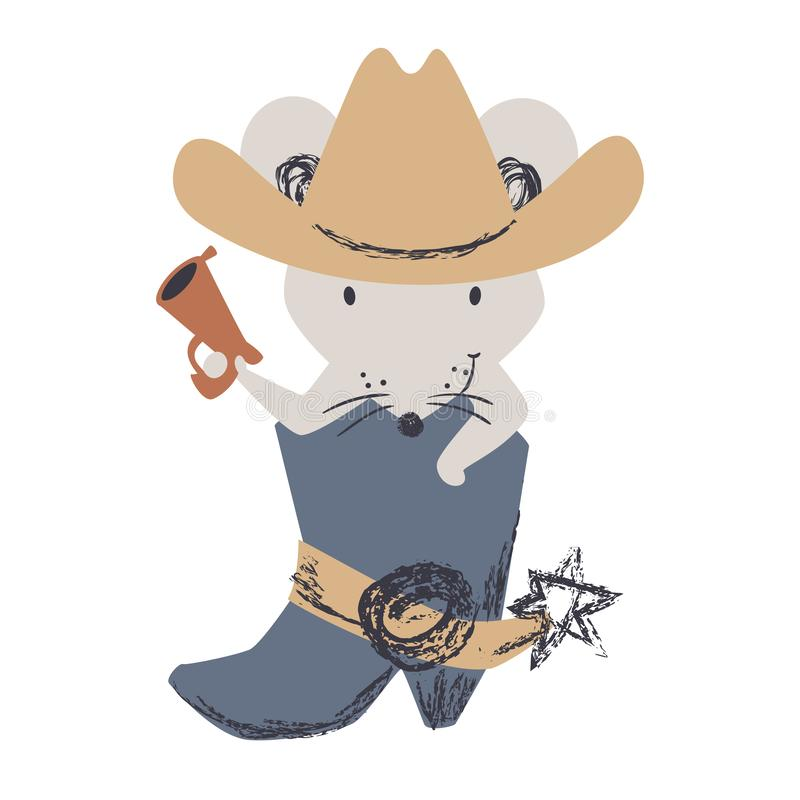 Western mouse baby cute print. Wild west animal with hat, boot, gun. stock illustration