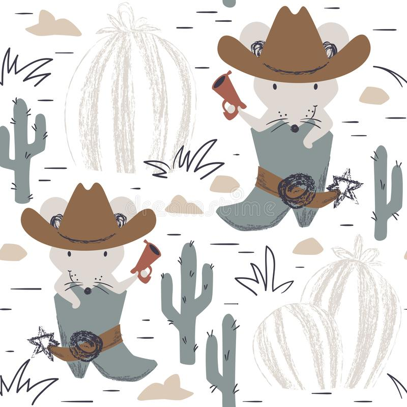 Western mouse baby seamless pattern. Wild west animal with hat, boot, gun. royalty free illustration