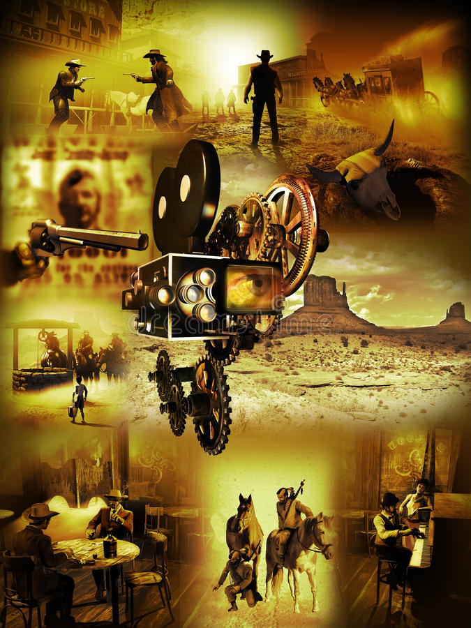 Western movies stock illustration