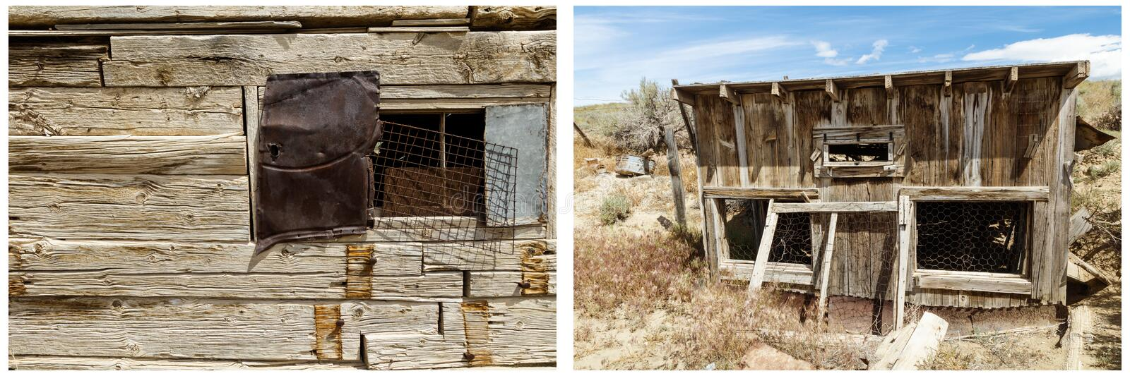 Square log old building chicken coup collage. Western old square cottonwood trees logs cabin window copyspace chicken coup wire wooden construction livestock stock images