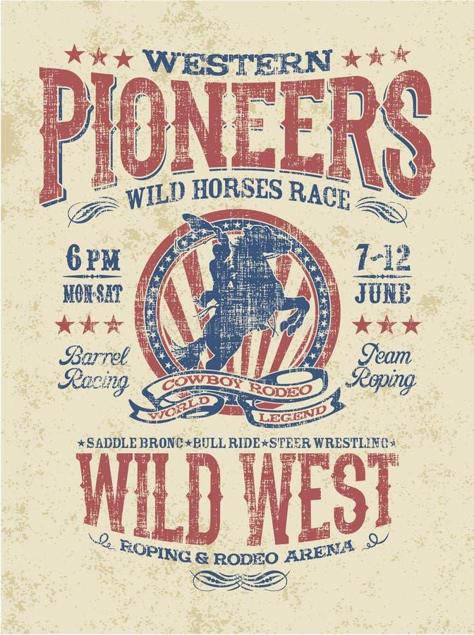 Western pioneers rodeo royalty free illustration