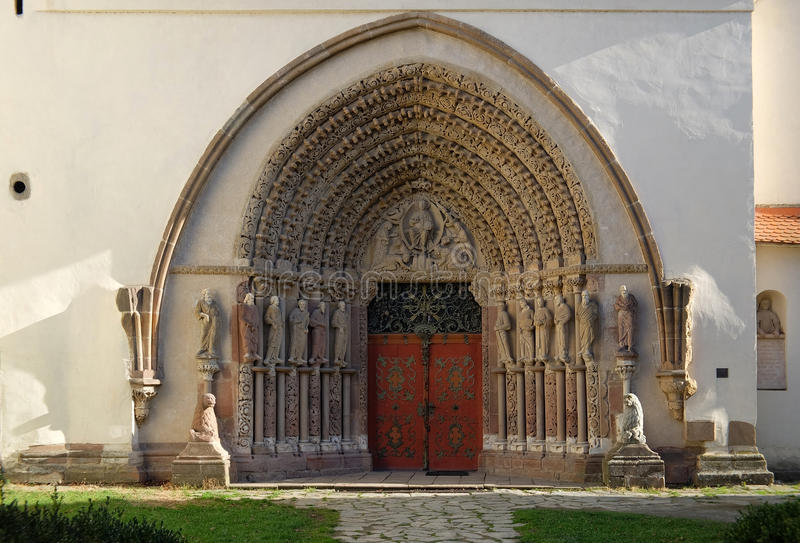 The western portal of the monastery of Porta Coeli. Unique western portal of the monastery of Porta Coeli with beautiful sculptural decoration is a masterpiece stock image