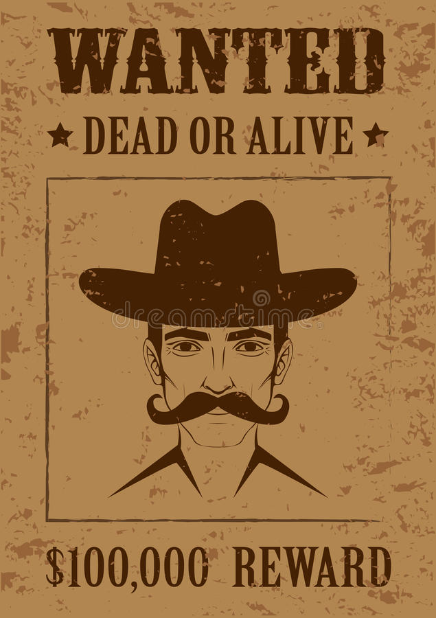 Western poster wanted dead or alive royalty free stock for Wanted dead or alive poster template free