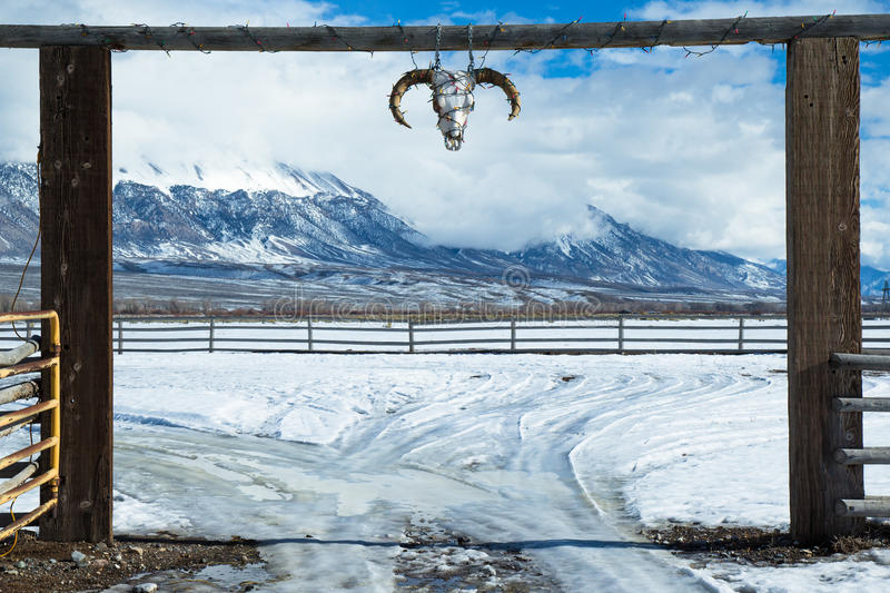 Western ranch entrance. With skull and snow royalty free stock images