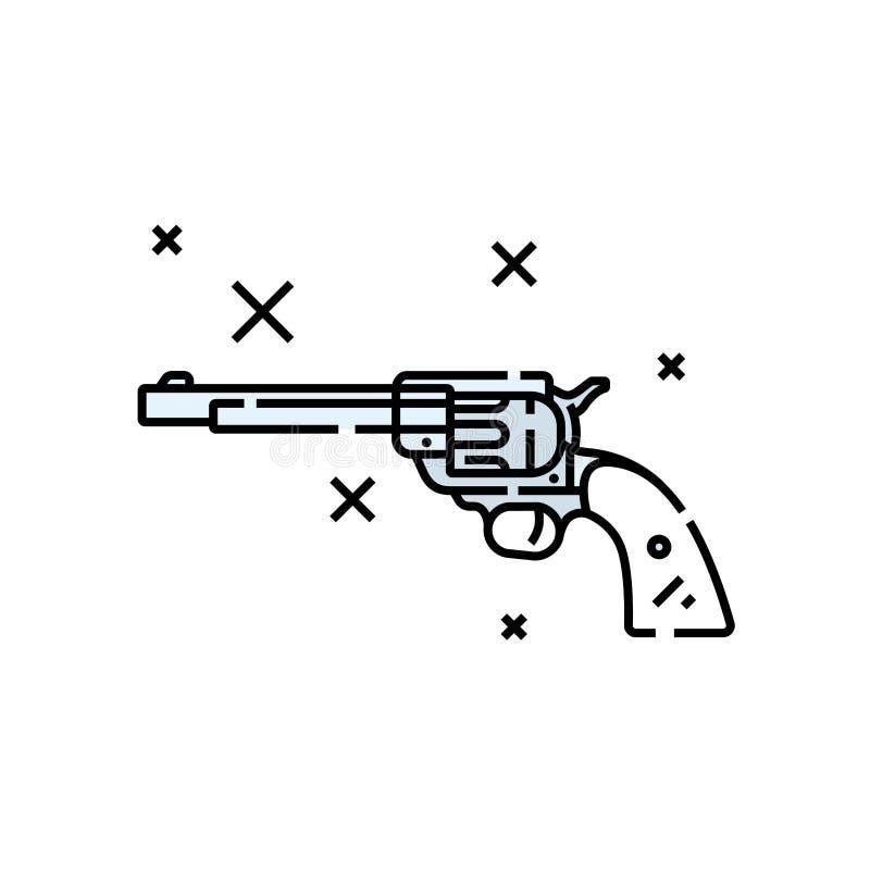 Western revolver line icon stock illustration