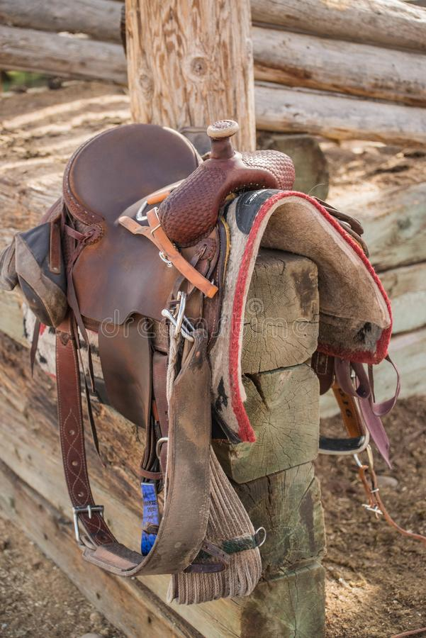 Western riding saddle and horse blanket royalty free stock photography