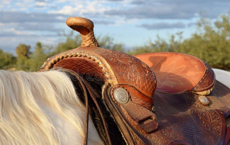 Western saddle royalty free stock photography