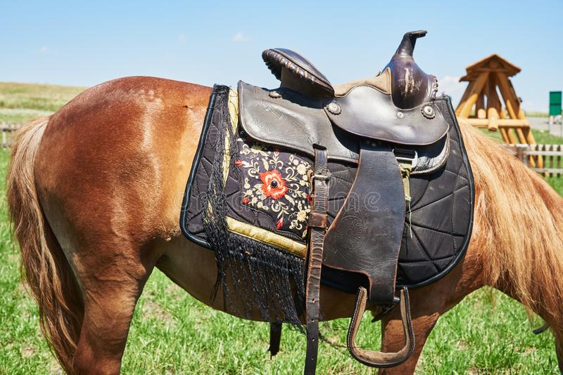 Western saddle for a horse decorated with beautiful ornament stock photo