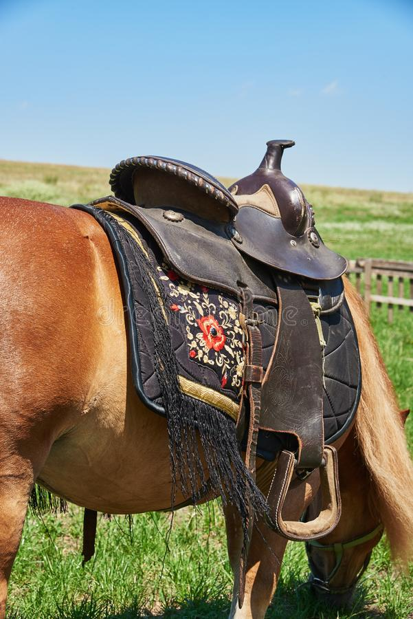 Western saddle for a horse decorated with beautiful ornament stock image