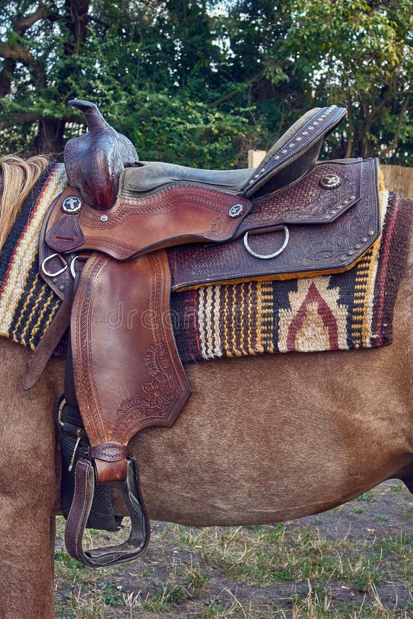 Western saddle for a horse royalty free stock photos