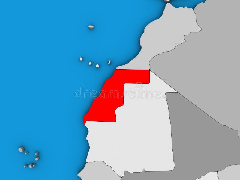 Western Sahara en el mapa 3D stock de ilustración