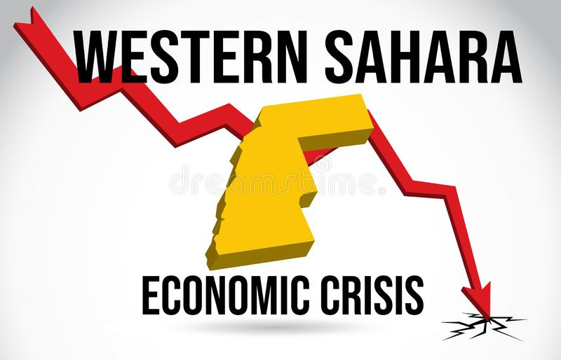 Western Sahara Map Financial Crisis Economic Collapse Market Crash Global Meltdown Vector. Illustration royalty free illustration