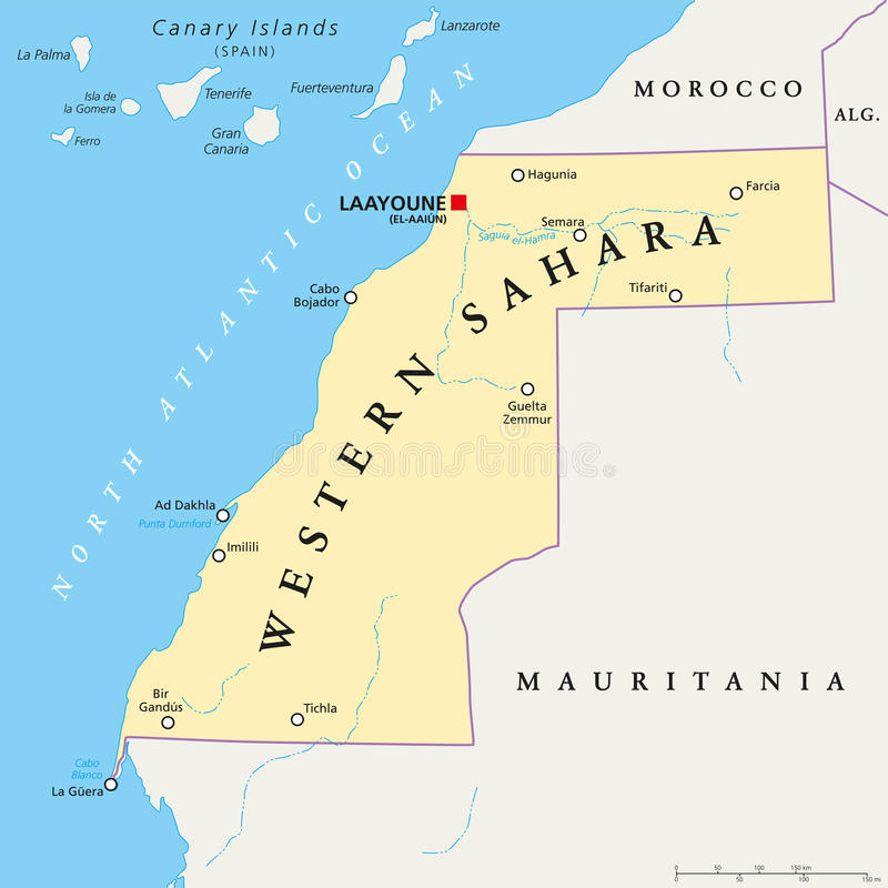 Western Sahara Political Map Stock Image Image of geography