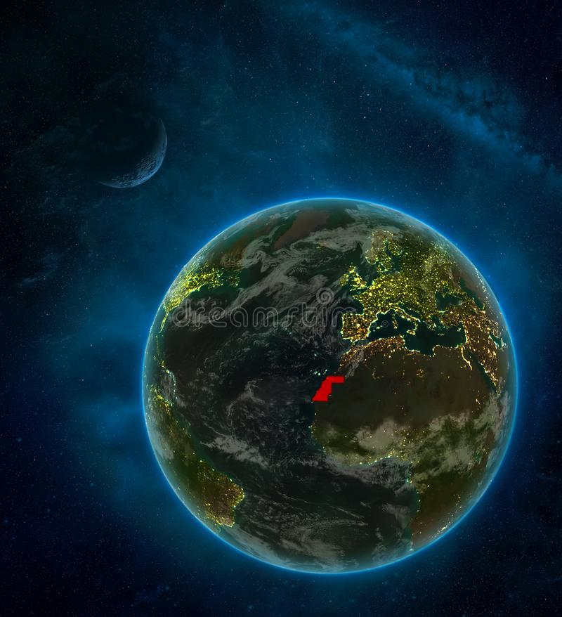 Western Sahara from space on Earth at night surrounded by space with Moon and Milky Way. Detailed planet with city lights and. Clouds. 3D illustration. Elements stock illustration