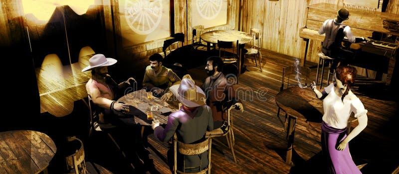 Western saloon at daylight stock illustration