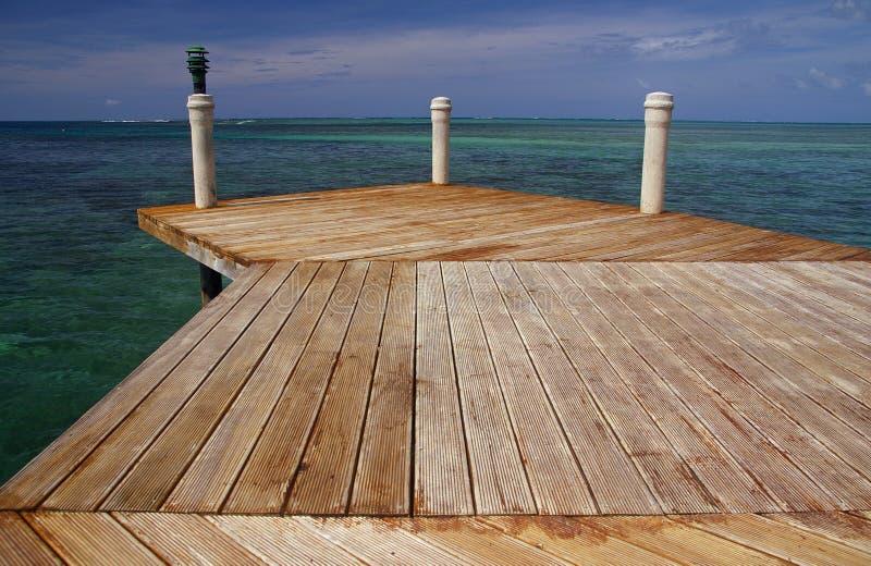 Western Samoa - jetty. View along a jetty/pier to the ocean - Western Samoa stock photo