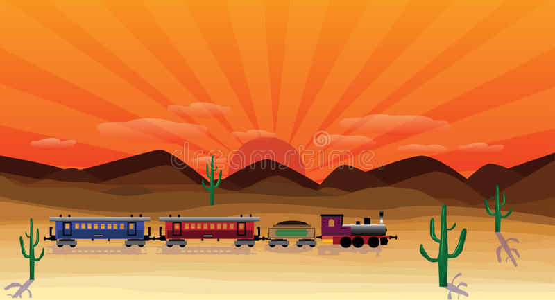 Western scene. With train at sunset vector illustration