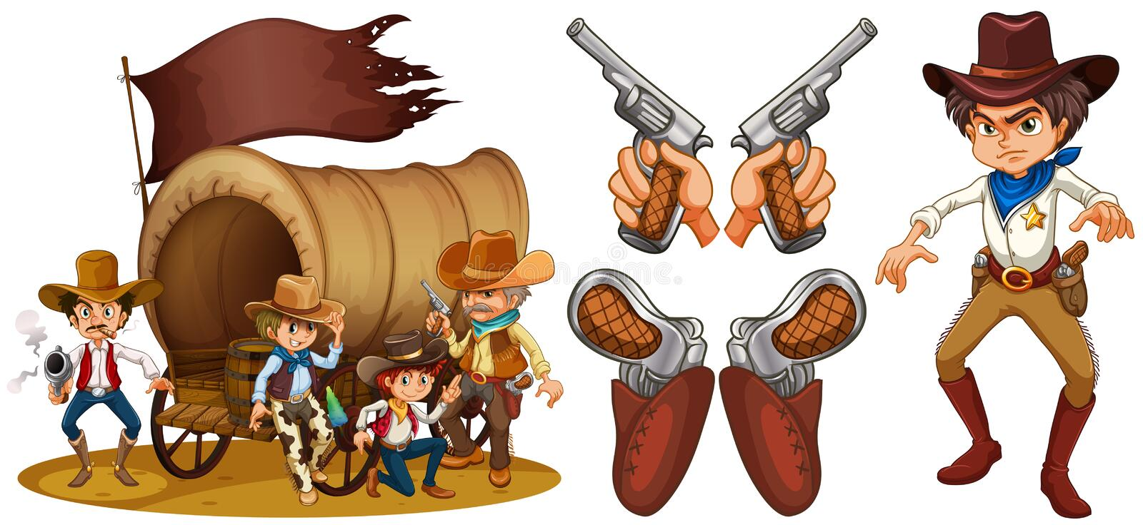 Western set with cowboy and guns royalty free illustration