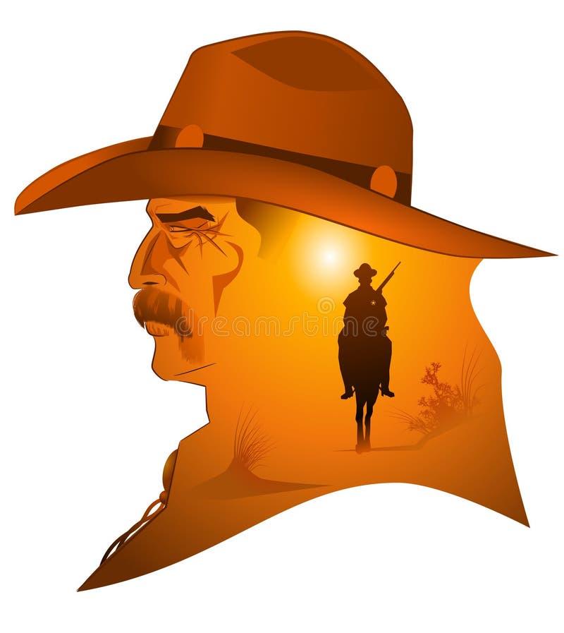 Western sheriff. Vector illustration of western cowboy sheriff vector illustration