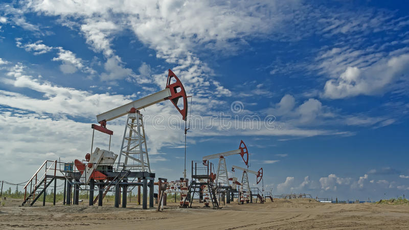Western Siberia. Russia. Oil pumps pumping equipment. royalty free stock photos