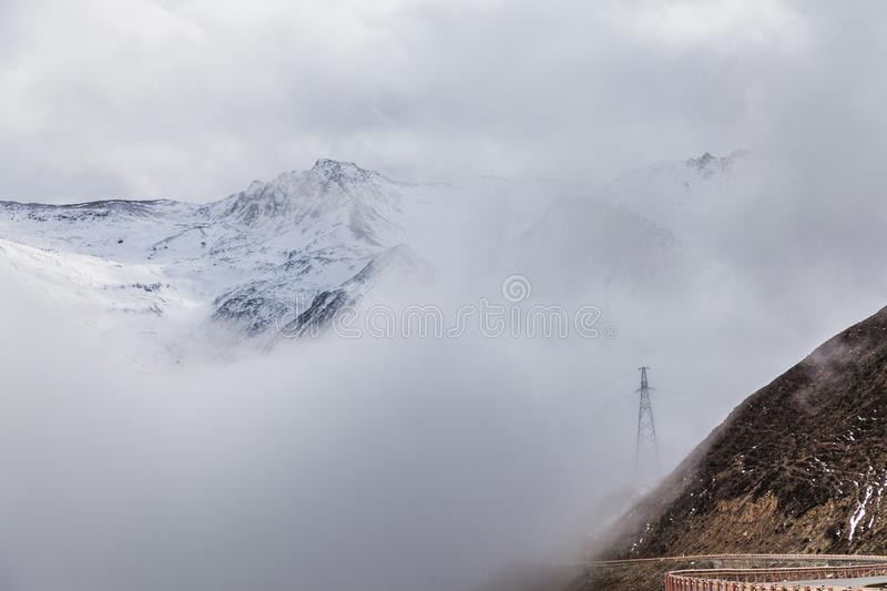 Western Sichuan, China, Baron Hill scenery with snow. 。 royalty free stock photo