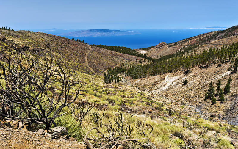 Western slopes of Teide national Park Via Atlantic Ocean. Volcanic landscape of Western slopes of Teide national Park Via Atlantic Ocean and La Gomera, El Hierro stock photography